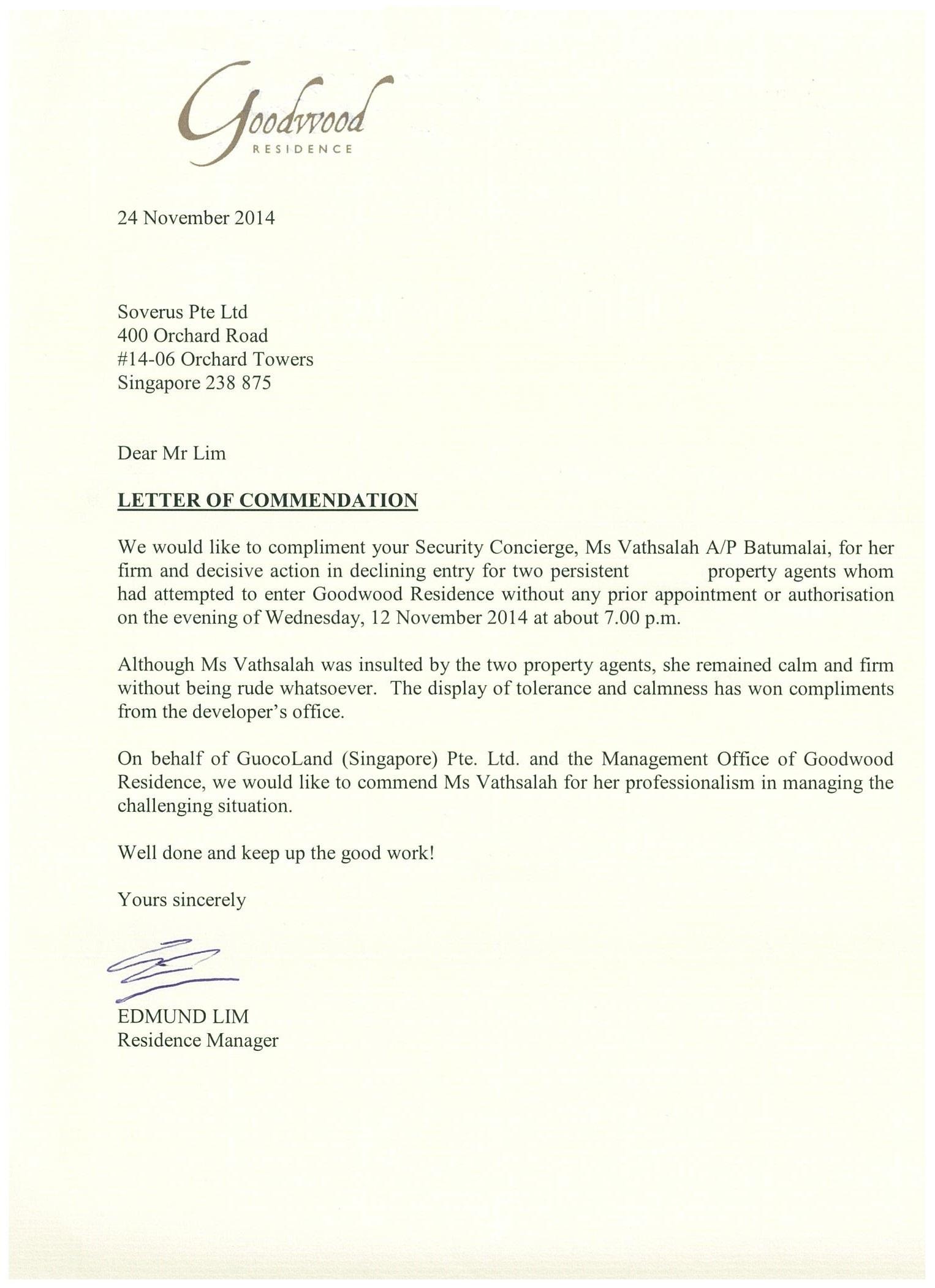 24 November 14 2014 Letter of mendation Goodwood Residence