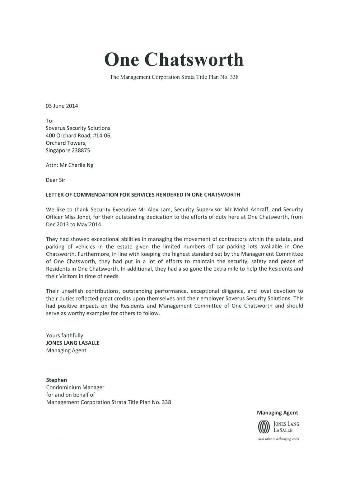 03 Jun 14 2014 Letter of mendation e Chatsworth Soverus